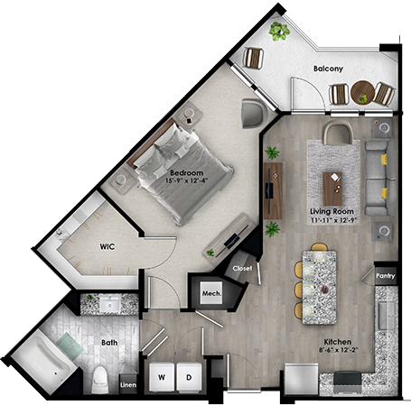 Addison eighty50 floorplan example one bedroom one bath